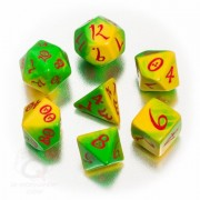 Set de dés jaune, vert & rouge Classic