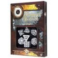 Set de 7 Dés JDR - Steampunk Clockwork - Blanc/Noir 1