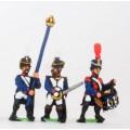 French: Command: Officer, Standard Bearer & Drummer in Shako, advancing 0