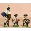 Seven Years War French: Command: Fusilier Officer, Drummer & Standard Bearer with cast metal flag 0