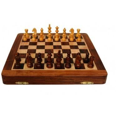 Jeu d'échecs pliant magnétique marqueté, 17 cm - Bois Brut