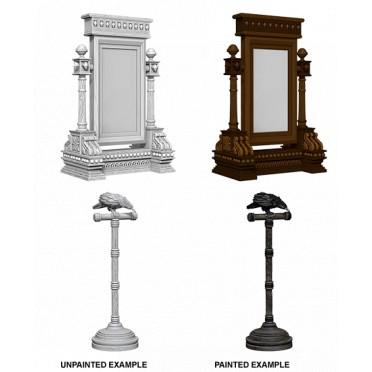 WizKids Deep Cuts Unpainted Miniatures: Mirror & Bird on Stand