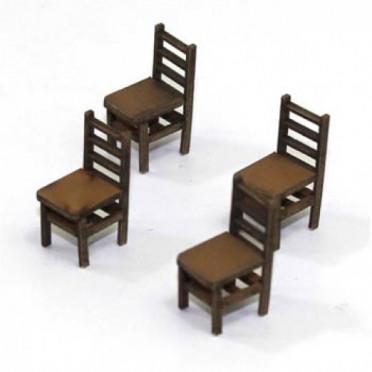 Chaises à Dossier à Barreaux B (x4)