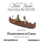French-Indian War Frontiersmen in Canoe